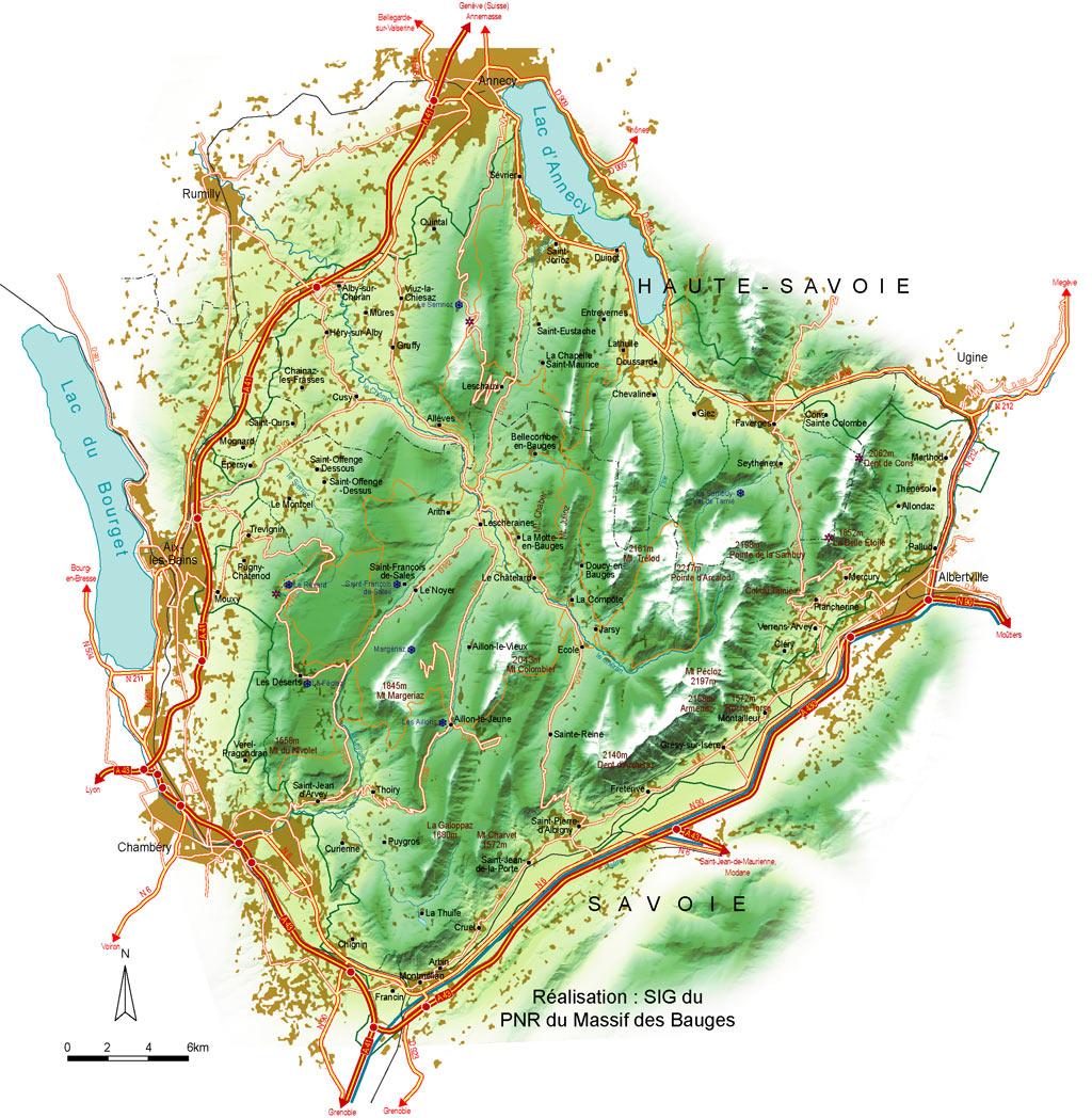 massif des bauges carte Géologie, tourisme et pédagogie en montagne   Massif des Bauges