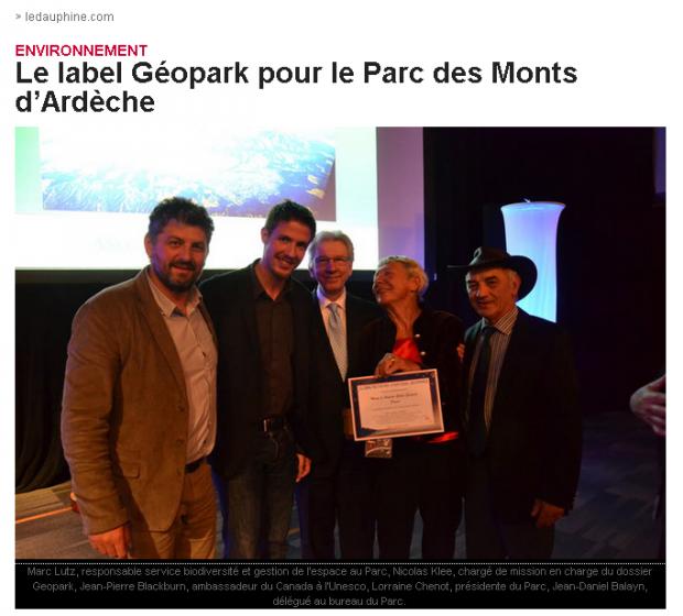 remise du label pour les Monts d'Ardèche au Canada